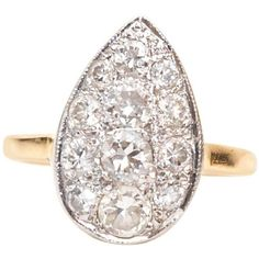 Preowned 1929 Pear Shape Old European Diamond Cluster Ring ($3,000) ❤ liked on Polyvore featuring jewelry, rings, engagement rings, multiple, diamond cluster engagement rings, sparkly rings, 14k engagement ring, 14k ring and bezel engagement ring