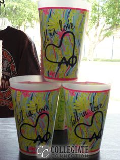 Lilly Pulitzer giftware customized for any sorority. Here's our Fall in love Alpha Phi!