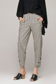 Peg trousers in monochrome black and white bias stripes Item: WZ402   Front Row Shop