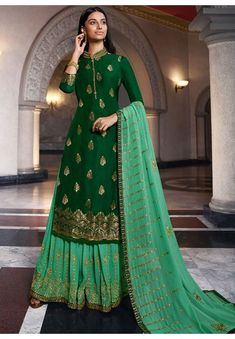 Bottle Green Dola Jacquard Kameez with Georgette Lehenga and Dupatta Sharara Suit, Salwar Kameez, Green Lehenga, Festival Wear, Designer Wear, Indian Wear, Indian Outfits, Suits For Women, Party Wear