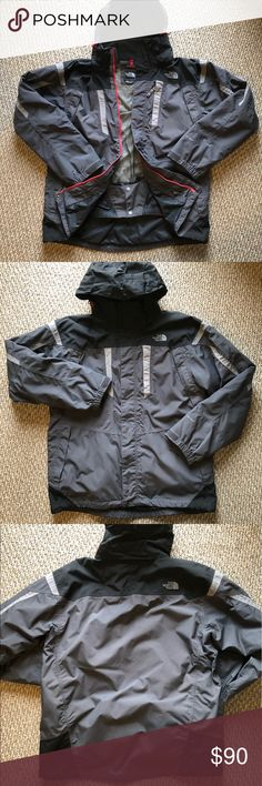 North Face Men's Triclimate Jacket 3-in-1 Sz Large Gray 3-in-1 jacket in great condition. This awesome North Face piece pairs a black, lightly insulated inner shell jacket 🧥 with a waterproof 💦 grey outer jacket. It has a removable hood, tons of pockets, and zippered venting. Rock it on your next ski or⛷ snowboard adventure 🎿🏂,  jike or mountain climb 🧗♂️🏔, or just another snowy day in Syracuse ❄️🌨! The North Face Jackets & Coats Ski & Snowboard