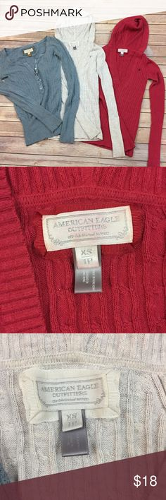 American Eagle AEO Thermal Lot Hoody Shirts S/XS Lot of three thermal tops by American Eagle outfitters AEO. Blue long sleeve button up, size small. Pink hooded, size extra small. Cream hooded, size extra small, minor discoloration under arms. Show minor signs of wear. Great value for back to school!    Meg15xp American Eagle Outfitters Tops Sweatshirts & Hoodies