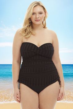 749a5e6a145 24th   Ocean Crochet Away Bandeau Plus Size Tankini Top in Black