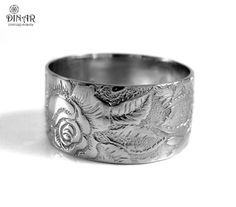 Rose flower 14k white Gold wedding band ,wide Victorian wedding ring band, solid gold Engraved leaves and flowers band for men and women,