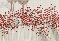 Bloementuin - Ruth van Wichelen.  Dit kunstwerk lijkt heel erg saai op het eerste gezicht vanwege de lichte achtergrond. Daarom is het zo leuk dat de rode bloemen eruit knallen. Het geheel ziet er erg leuk uit, zeker met de bomen en het meisje op het pad. Ik zou het zo in mijn kamer ophangen.