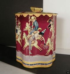 Carousel Tin Covered Biscuit Jar Canister Metal Colorful | eBay