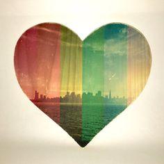 Rainbow Pride: San Francisco Skyline  9x8 Heart by CuppaFog
