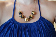 Gold Foil // Ceramic Necklace by ofThreadandLeather on Etsy