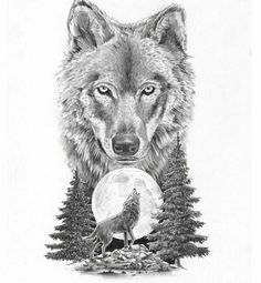 Wolf on moon tattoo design
