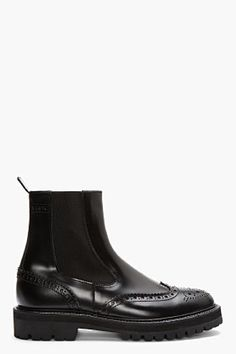 JUUN.J // BLACK LEATHER CHELSEA WINGTIP BROGUE BOOTS ~ The meanest Chelseas Ive ever seen