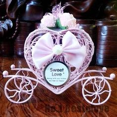10Pcs Pink Cinderella Carriage Candy Chocolate Box Birthday Wedding Party Favor