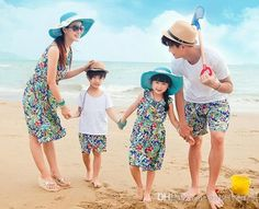 eb1e4e2cbce New Arrival Fashion Women Summer Dress Floral Print Women Dresses Family  Fashion Clothes Set For Father-child Bohemia Beach Wear
