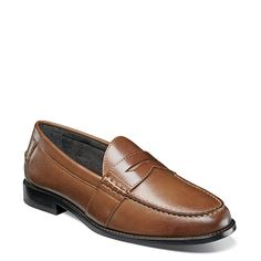 Nunn Bush Men's Noah Medium/Wide Moc Toe Penny Loafers (Cognac Leather) - 13.0 M