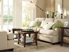 green and beige living room. Benjamin Moore-Bleeker beige