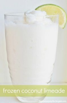 Frozen Coconut Limeade... 5-1/2 cups ice, 5/8 cup Coco Lopez cream of coconut (can be found in most grocery stores near the mixed drinks section), 4-5 Tbsp. frozen limeade concentrate, 1/8 cup water.....Add all ingredients to a blender and blend until smooth.