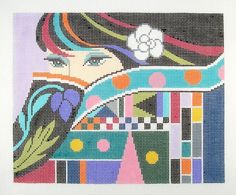 LEE The Lady with Mysterious Eyes handpainted HP Needlepoint Canvas 13 mesh #LEENeedleArts