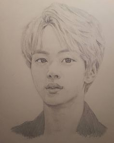 SeokJin Fanart Portrait Sketches, Portrait Art, Kpop Drawings, Pencil Drawings, Manga Drawing, Drawing Sketches, Mickey Mouse Vans, Moleskine Sketchbook, Korean Art