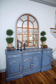 A close up of the hutch in the remodeled living room of the newly renovated Ferguson home, as seen on Fixer Upper. (after)