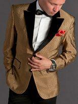 Custom Made Slim Gold Satin Groom Tuxedos Groomsman Blazer Suit ...