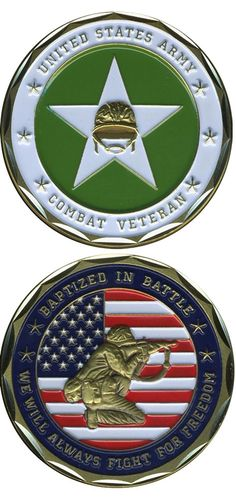 """The Army Challenge Coins make great gifts for our Veterans, their families and civilians who want to show their support for our military. Top quality Bronze Alloy measuring 1 5/8"""" in diameter. Officia"""