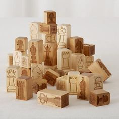 Chunky Chess Pieces - made of maple or cherry hardwood and has its own individual design laser engraved $44