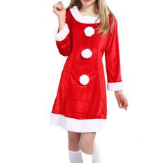 2016 New Christmas Style Fashion Three White Balls Party Performance Red Costumes Cosplay Cute Women Dress With Hat♦️ SMS - F A S H I O N 💢👉🏿 http://www.sms.hr/products/2016-new-christmas-style-fashion-three-white-balls-party-performance-red-costumes-cosplay-cute-women-dress-with-hat/ US $17.09