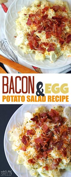 Oh wow! This Bacon and egg potato salad recipe is AWESOME - this yummy potato salad includes bacon and eggs and pickle relish. It's delicious & gluten-free. It's super easy to make it Paleo by changing up a few things. It's kid-friendly because it doesn't