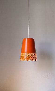 Tangelo Orange - UpCycled Garden Planter Mesh Metal Hanging Pendant Light Lace Lamp Shade - BootsNGus Lighting Fixture