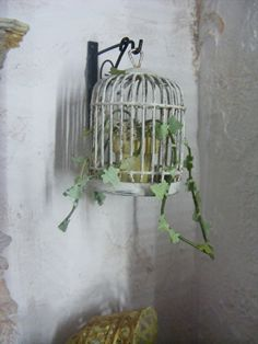 Miniature bird cage with trailing ivy-Dolls by shabbychicminis
