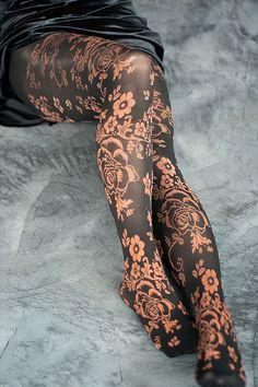 2a6c74504dcd1 Floral Tights copper via sdc. Magnolia Pearl