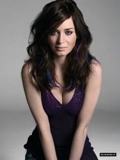Have ALWAYS wanted blue hair -- Emily Blunt's purple and blue highlights are barely there. Could I pull it off??