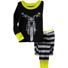 Old Navy Moto Print PJ Sets For Baby - Black/grey (39 BRL) ❤ liked on Polyvore featuring baby