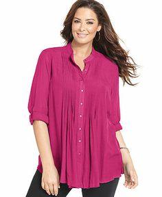6b203311ea9f48 Alfani Plus Size Three-Quarter-Sleeve Pintucked Blouse   Reviews - Tops - Plus  Sizes - Macy s