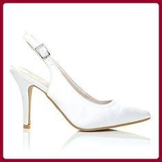 Faith Weiße Satinpumps Mit Stiletto High Heels Und Fersenriemen Brautschuhe  - weiß Satin, Textil, 6 UK   39 EU - Damen pumps ( Partner-Link) e41134935c