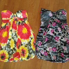 2 Rue 21 Strapless Summer Dresses 2 for 1 set of Rue 21 strapless summer dresses. Very cute & comfortable material. Both are in excellent condition. Size medium. Rue 21 Dresses Strapless