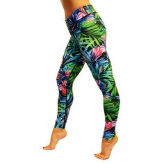 Lush Tropical Flowers And Floral Print Running Tights. Encase Your Legs In These Delightful Patterned Leggings. Great For Fitness And Casual Wear! Printed Yoga Pants, Patterned Leggings, Fitness Fashion, Fitness Style, Fitness Outfits, Running Tights, Tropical Flowers, Gym Wear, Women's Leggings