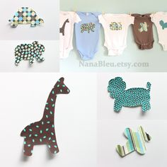 Set of 15 iron on appliques jungle shapes for boy baby shower activity or decoration. via Etsy.