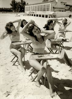 Beauty school at the beach, 1940s