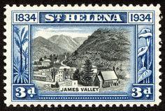 "St. Helena 1934 Scott 105 3p blue & black ""View of James Valley"""
