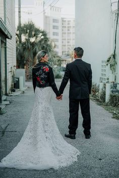 bride in a custom 'till death' leather jacket