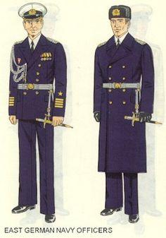 East German Navy officers parade dress uniforms.