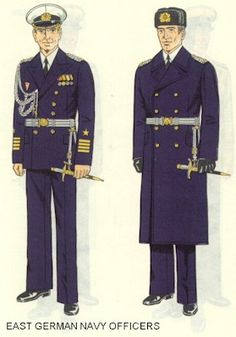 East German Navy officers parade dress uniforms.