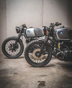 """dropmoto: """"Pretty ladies. BMW R100 sisters built by @arjanvandenboom & @eric.kalter over at Ironwood. @paul_vanml . #dropmoto #bmw #r100 #vintagemotorcycle #builtnotbought #airhead #caferacers #caferacer #caferacerporn #caferacerxxx """""""