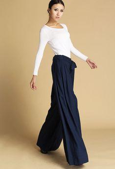 Dark blue pants linen pants maxi pants 471 by xiaolizi on Etsy, $69.00