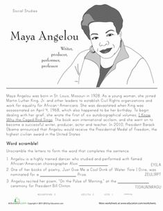 Black History Month Second Grade Comprehension History Worksheets: Historical Heroes: Maya Angelou Black History Poems, Family History Quotes, Black History Facts, Black History Month, World History Book, History Lessons For Kids, Reading Passages, Reading Comprehension, History Education