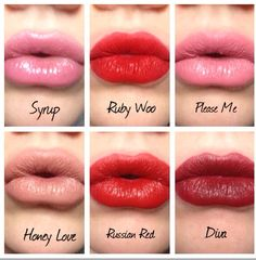 Mac lipstick swatches. Please me. Russian Red. Honey Love. Syrup. Diva. Ruby Woo.