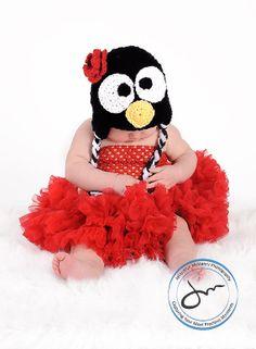 Little Miss Penguin Beanie in Black Candy by mamamegsyarnshoppe, $22.00