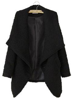 Black Pockets Turndown Collar Long Sleeve Wool Coat.