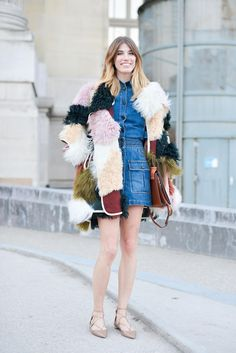 Winter Street Style Outfit: Multicolor shaggy fur coat styled over a denim mini dress