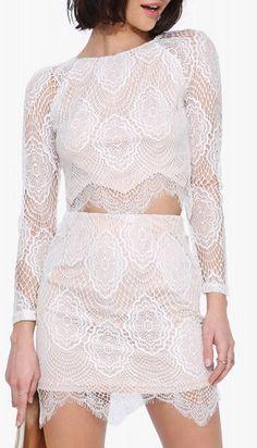 Love + Limes White Lace Mini Skirt